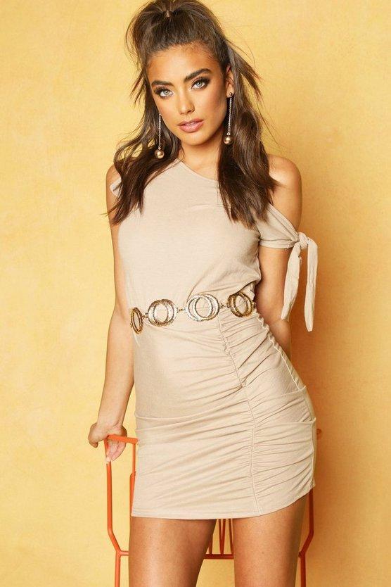 Linen Knot Detail Bodycon Mini Dress