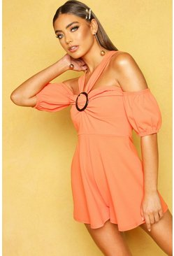 Apricot O Ring Puff Sleeve Playsuit
