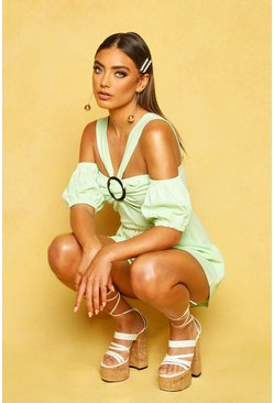 Sage O Ring Puff Sleeve Playsuit