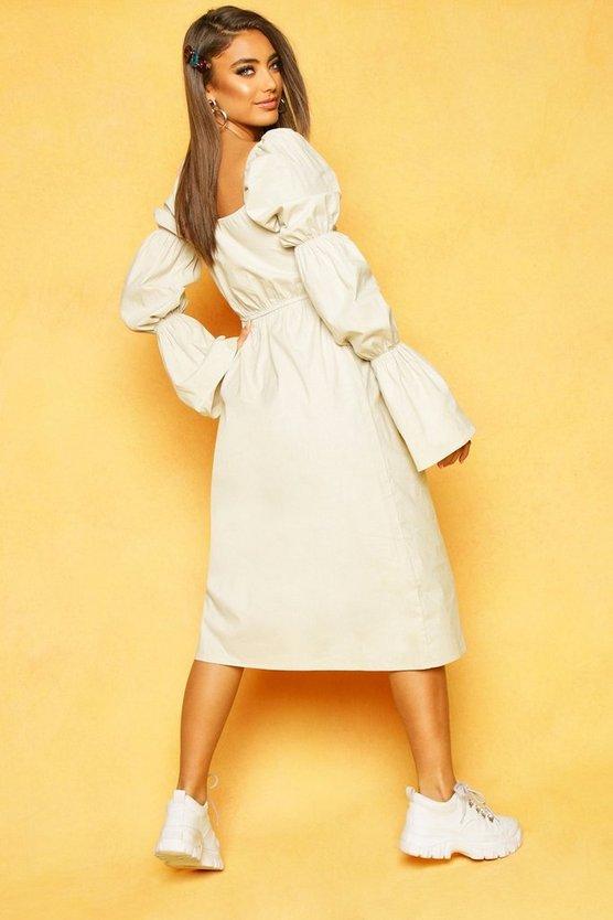 Volume Sleeve Front Midaxi Dress