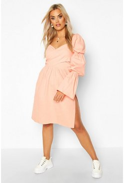 Apricot Plus Volume Sleeve Wrap Front Maxi Dress