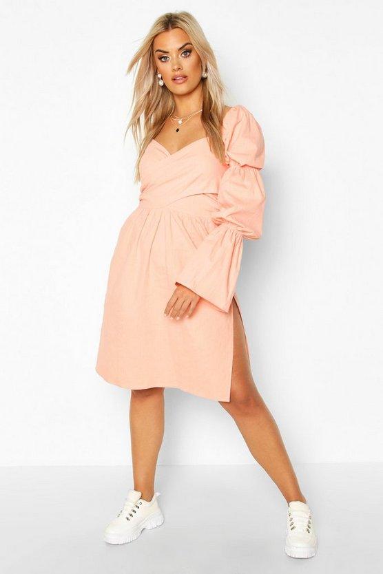 Plus Volume Sleeve Wrap Front Maxi Dress