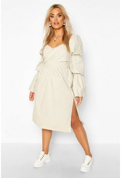 Sand Plus Volume Sleeve Wrap Front Maxi Dress