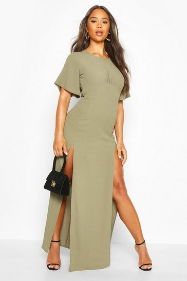 Womens Khaki High Neck Solid Colour Maxi Dress