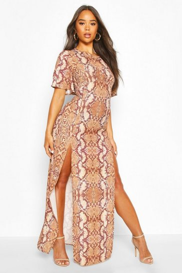 Womens Brown Snake Print High Neck Maxi Dress