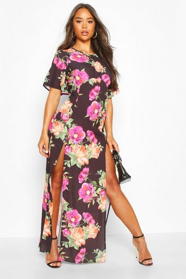Womens Black Bold Floral High Neck Midi Dress