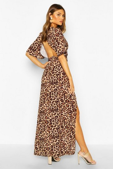 Womens Leopard Print High Neck Midi Dress
