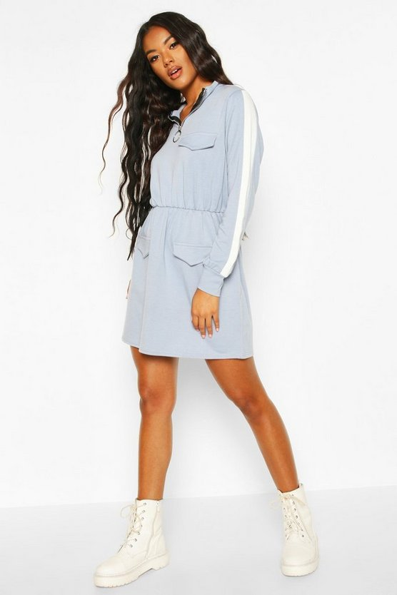 Dusty blue Utility Pocket O Ring Zip Through Sweat Dress