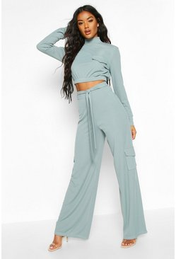 Blue Tie Waist Cargo Pocket Wide Leg Ribbed Pants