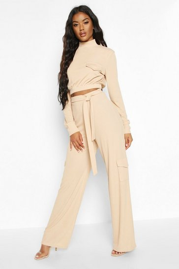 Womens Stone Tie Waist Cargo Pocket Wide Leg Ribbed Trousers