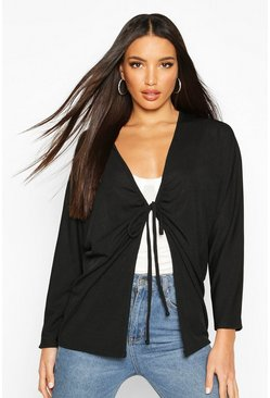 Womens Black Ruched Tie Front Ribbed Kimono