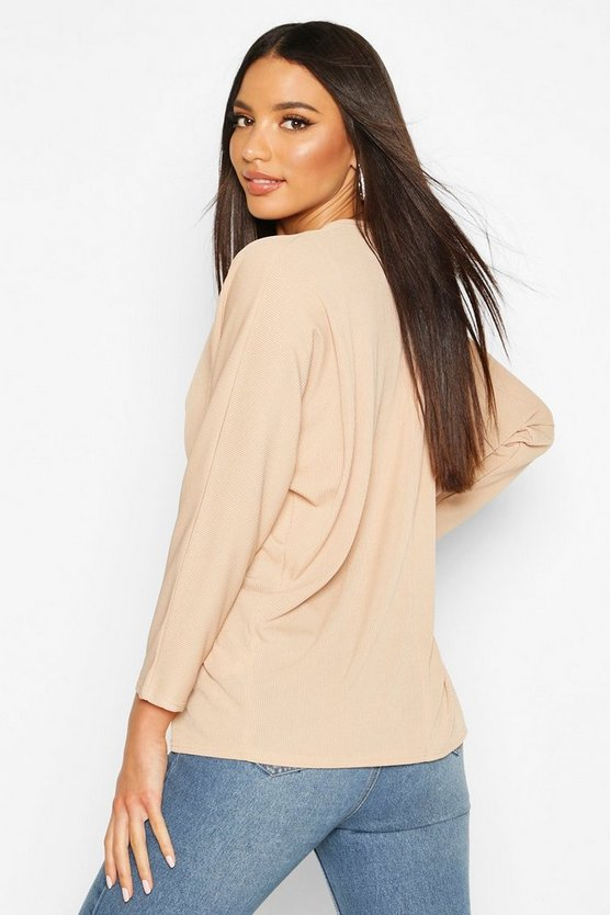Ruched Tie Front Ribbed Kimono