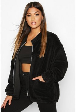 Black Teddy Faux Fur Oversized Jacket