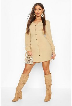 Stone Button Front Fit & Flare Mini Dress