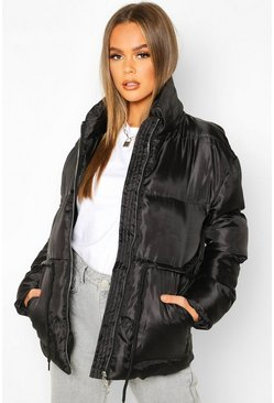 Womens Black Tie Waist Funnel Neck Puffer Jacket