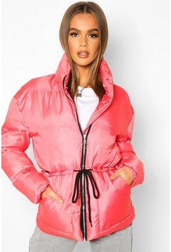 Womens Red Tie Waist Funnel Neck Puffer Jacket
