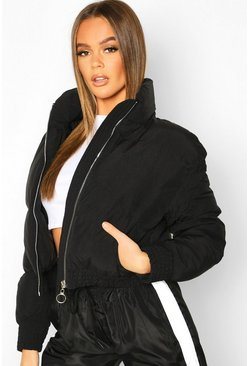 Womens Black Ruched Detail Funnel Neck Puffer