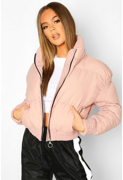 Dusky pink Ruched Detail Funnel Neck Puffer