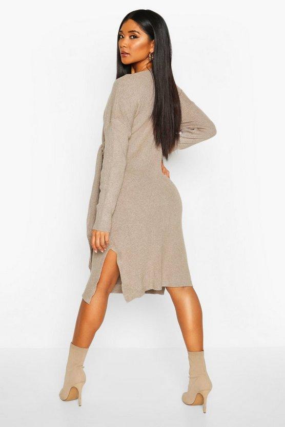 Twist Front Midi Jumper Dress