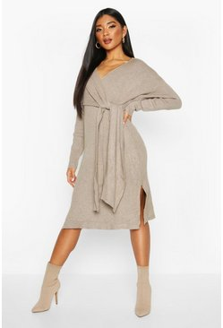 Stone Twist Front Midi Jumper Dress