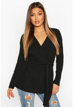 Black Twist Front Slouchy Sweater