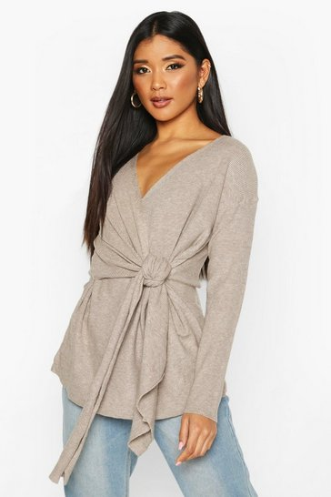 Grey Twist Front Slouchy Jumper