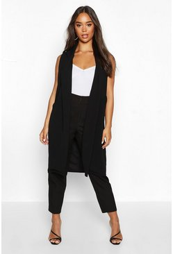 Womens Black Sleeveless Edge To Edge Pocket Detail Duster