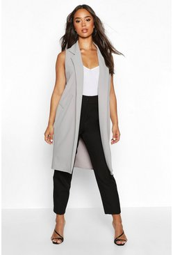 Womens Grey Sleeveless Edge To Edge Pocket Detail Duster