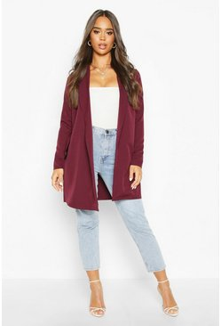 Burgundy O Ring Belted Duster Coat