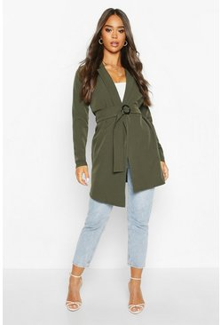 Womens Khaki O Ring Belted Duster Coat