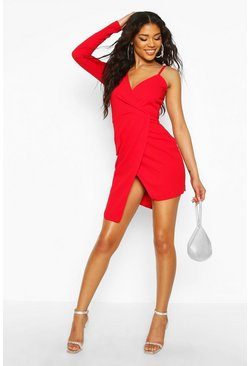 Womens Red Asymmetric Wrap Front Blazer Dress