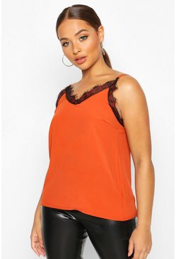 Womens Rust Lace Trim Woven Cami