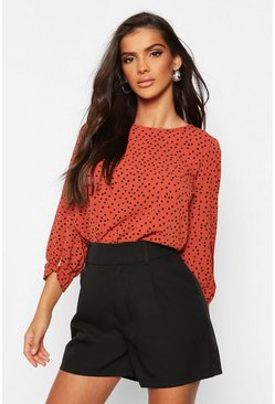 Rust Polka Dot Bow Sleeve Woven Blouse