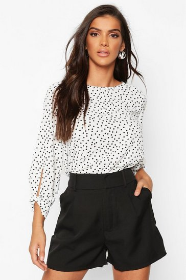Womens White Polka Dot Bow Sleeve Woven Blouse