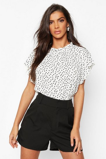 Womens Ivory Polka Dot Frill Sleeve Woven Blouse