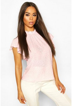 Pastel pink Polka Dot Frill Sleeve Woven Blouse