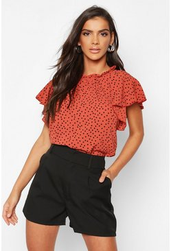 Womens Rust Polka Dot Frill Sleeve Woven Blouse