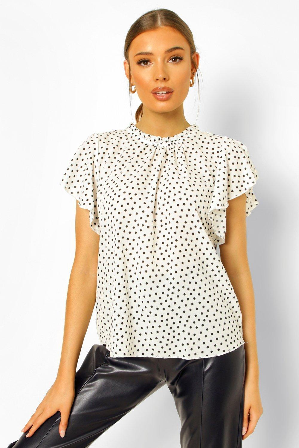1930s Style Blouses, Shirts, Tops | Vintage Blouses Womens Polka Dot Frill Sleeve Woven Blouse - White - 10 $25.00 AT vintagedancer.com