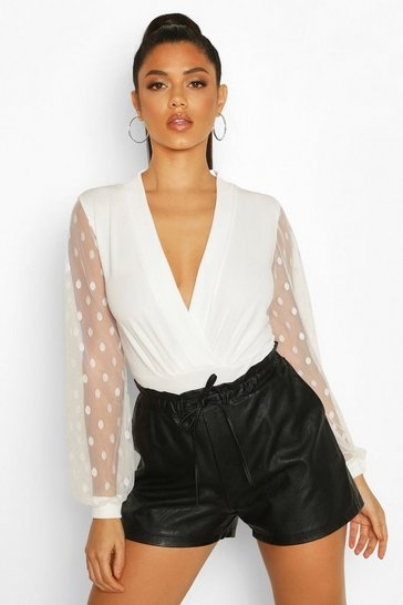 Womens Ivory Polka Dot Mesh Sleeve Bodysuit