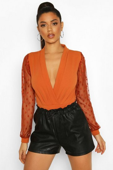 Rust Polka Dot Mesh Sleeve Bodysuit
