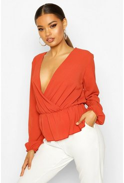 Womens Rust Wrap Peplum Blouse