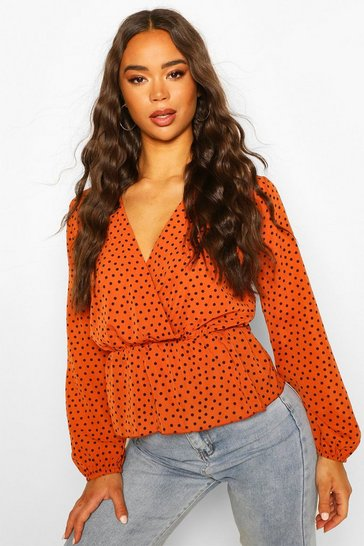 Rust Polka Dot Wrap Peplum Blouse