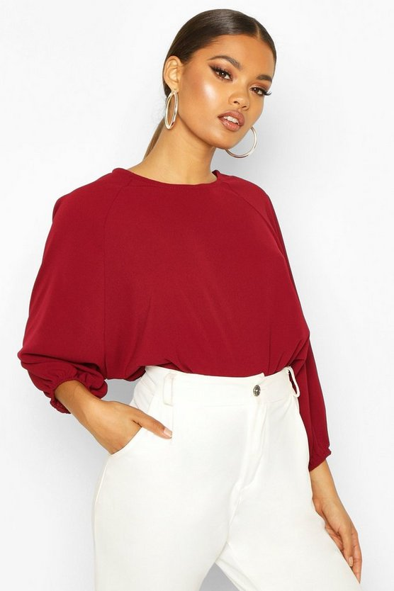Womens Berry Batwing Sleeve Blouse