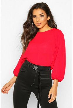 Red Batwing Sleeve Blouse
