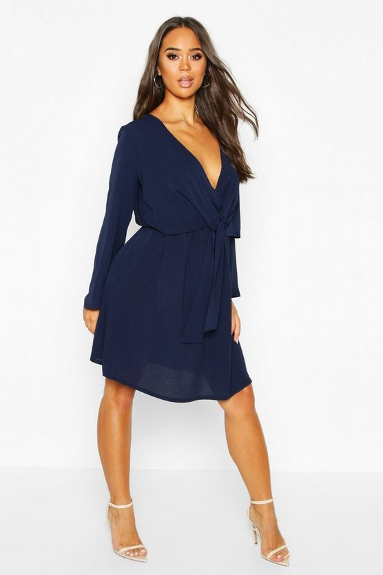 Womens Knot Front Woven Wrap Dress - navy - 10, Navy