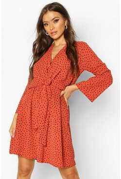 Rust Polka Dot Woven Knot Front Wrap Dress