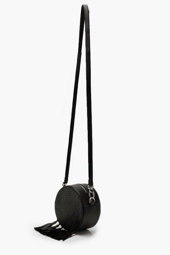 Snake Tassel Drum Cross Body Bag