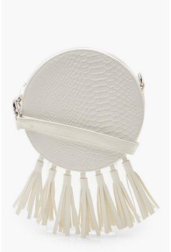 Womens White Snake Tassel Drum Cross Body Bag