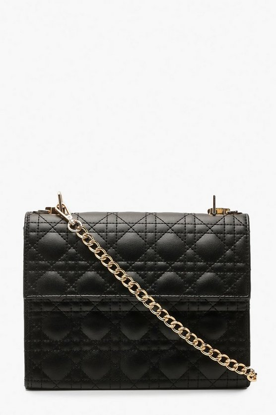 Geo Quilted Cross Body Bag & Chain