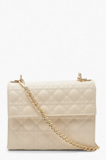 Womens Cream Geo Quilted Cross Body Bag & Chain